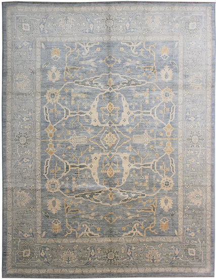 """Hand Knotted Oushak Rug - 10'0"""" X 8'6"""" Gray Blue"""