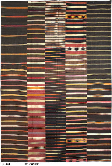 "Hand Knotted Antique Patchwork Kilim - 9'10"" x 13'0"""