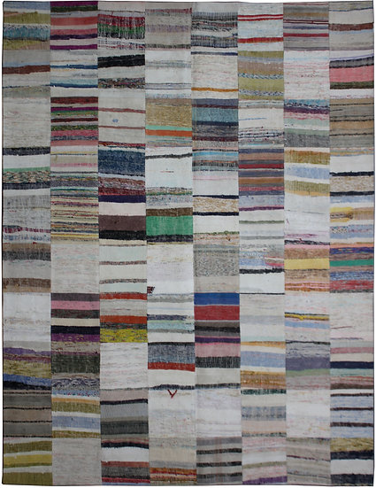 "Hand Knotted Antique Patchwork Rug - 10'0"" x 13'2"""