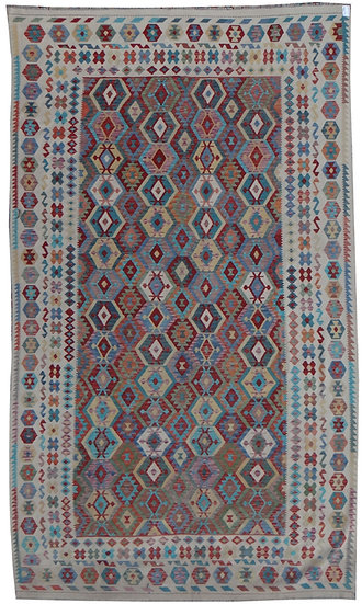 "Hand Knotted Natural Wool Maimana Kilim. 9'10"" x 16'3"""