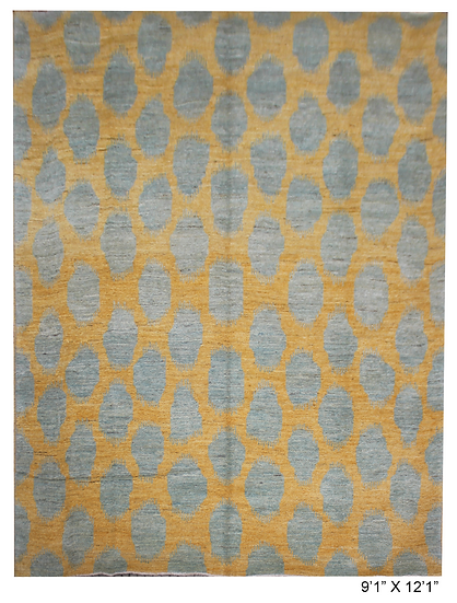 """Hand Knotted Ikat Rug - 9'1"""" x 12'1"""""""