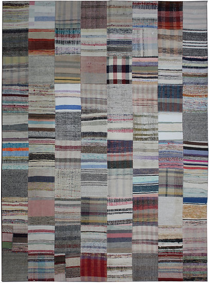 """Hand Knotted Antique Patchwork Rug - 8'0"""" x 9'10"""""""