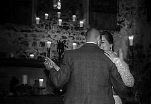 Bride and Groom First Dance wedding photo black and white