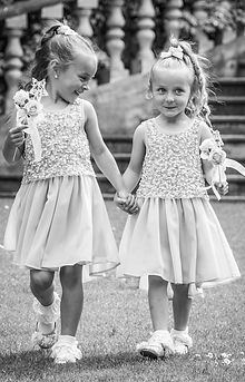 black and white portrait bridesmaids