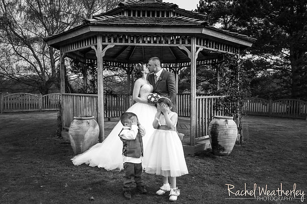 Bride and Groom with children wedding photoraphy kent
