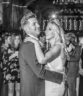 black and hite first dance wedding photo