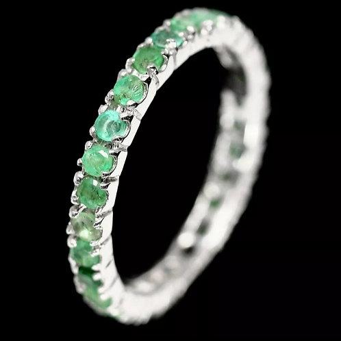 REBB1 - טבעת אמרלד אמיתי מכסף 925 מצופה זהב 14 קרט, מידה 54