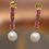 Thumbnail: EPRB2 - עגילי פנינים אמיתיות ורובי אמית כסף 925 מצופה זהב 14 קרט