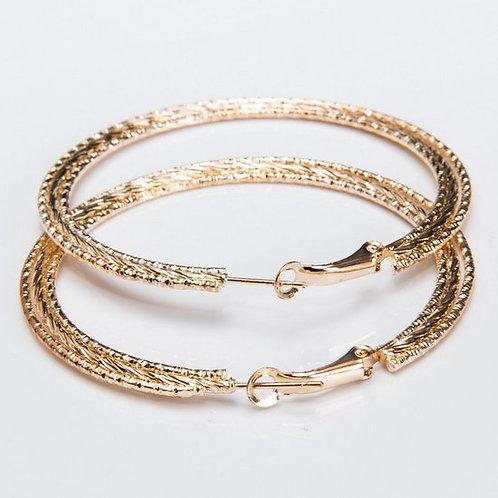 1025 - עגילי חישוק גולדפילד זהב צהוב
