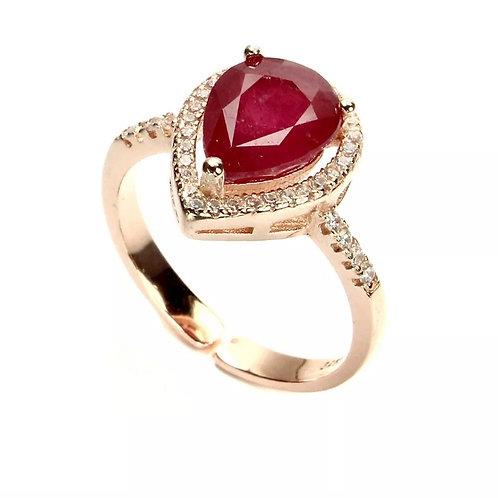 RRA2 -   טבעת רובי אמיתי מכסף 925 מצופה זהב 14 קרט, מידה 56
