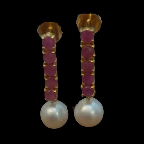 EPRB2 - עגילי פנינים אמיתיות ורובי אמית כסף 925 מצופה זהב 14 קרט