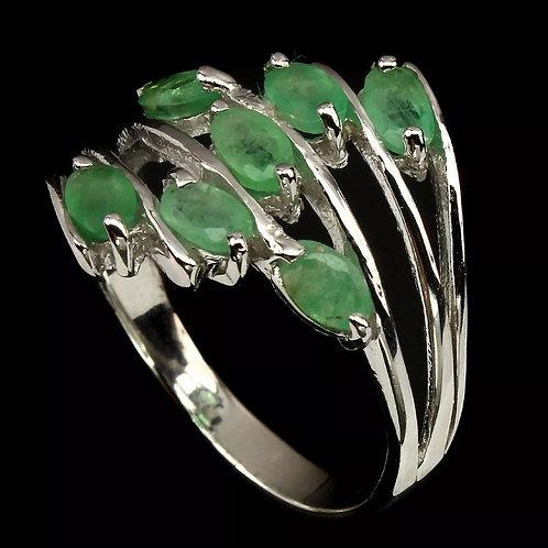 RET1 - טבעת אמרלד אמיתי מכסף 925 מצופה זהב 14 קרט, מידה 60