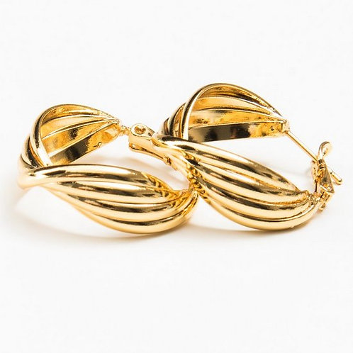 4432 - עגילי חישוק גולדפילד זהב צהוב