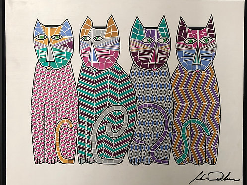 Four Cats , Framed