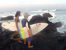 pedro cruz and chris daly surfing secret spot during an advanced surf lesson in tamarindo costa rica
