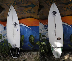 glassed on fins shortboard Custom monkey wrench surfboard from pedro's surf shop and school in tamarindo costa rica