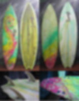 rasta resin tint and green resin tint with channels Custom monkey wrench surfboard from pedro's surf shop and school in tamarindo costa rica