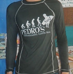 Rashguard from Pedro's Surf Shop in tamarindo Costa Rica