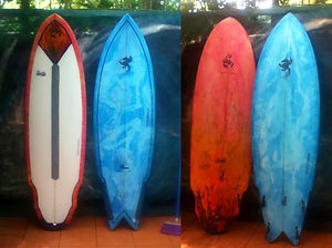 blue and red resin tint surfboards crazy tail Custom monkey wrench surfboard from pedro's surf shop and school in tamarindo costa rica
