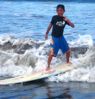 Julian kids surf lesson at pedro's surf shop in tamarindo