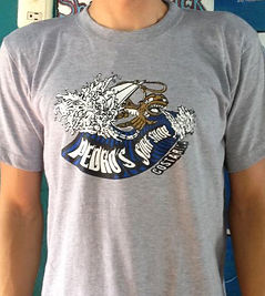 wave t shirt pedros surf shop monkey surfing shaka sign
