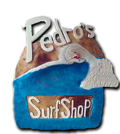 Pedro's sign at pedro's surf shop in tamarindo costa rica