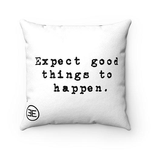 Good Things Happen Pillow - White/Stripes 18x18 Square Pillow