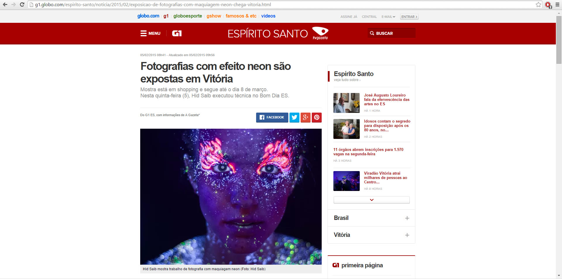 Neon no G1 - TV Gazeta