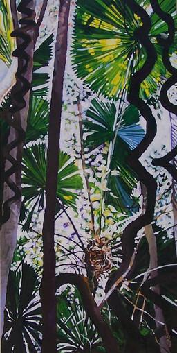 Rainforest Series-Tendrils Acrylic on Canvas 60.9 x 121.8 cms..jpg