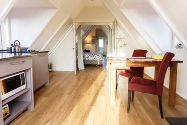 Penthouse living & kitchen