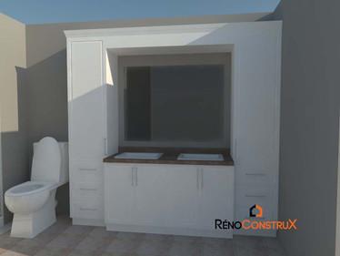 Plan 3D salle de bain Plan 3D - Rallonge de maison