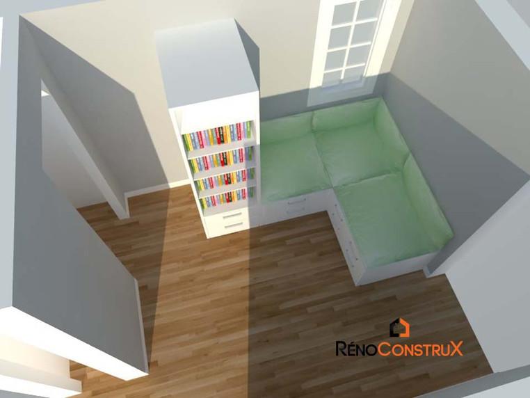 Plan 3D Salle de repos  -Rallonge de maison