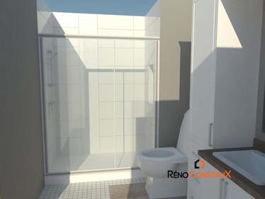 Plan 3D salle de bain - Rallonge de maison