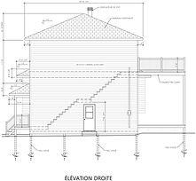 Exemple de plan de construction - Élévation droite