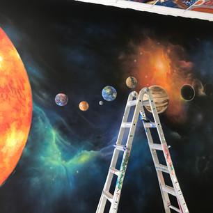 Galaxy mural progress 1