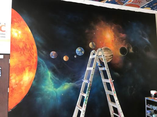 Galaxy mural progress 1. With Up Art Studio.