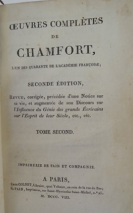 CHAMFORT  Oeuvres complètes