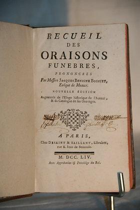 BOSSUET Oraisons funèbres 1754