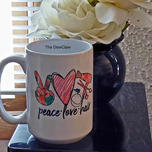 Peace Love Hair Beauticians Mug