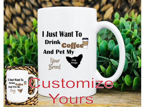 coffee with my dog 15 oz mug