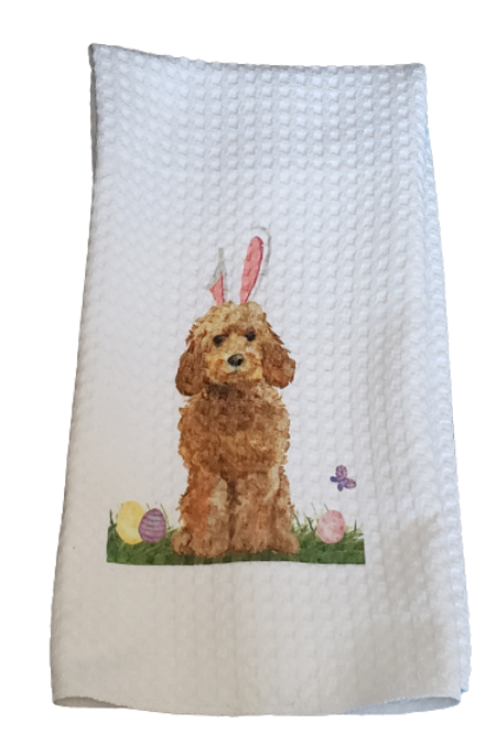 Waffle Weave Easter Dish Towel