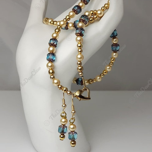 ocean blue Czech beaded necklace and earings
