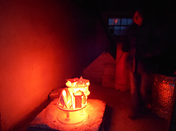 The glowing red hot ceramics is revealed