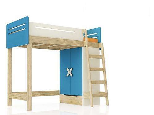 Кровать-чердак с гардеробом WOODY