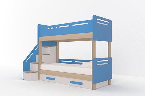 Кровать-чердак с 2-мя спальными местами и боковой лестницей с ящиками WOODY