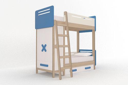 Кровать-чердак с гардеробом и 2-мя спальными местами WOODY