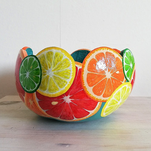 Beautiful Handpainted Fruit Citrus Bowl