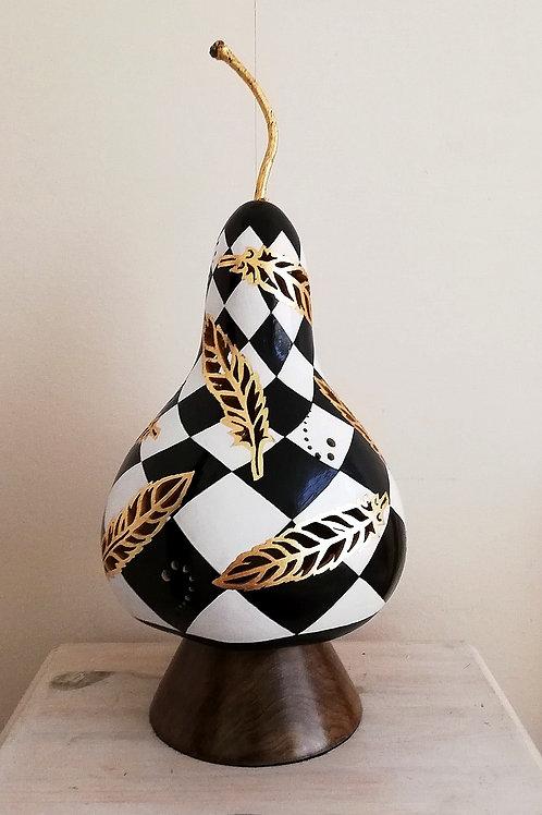 Elegant Gold Feather Gourd Lamp