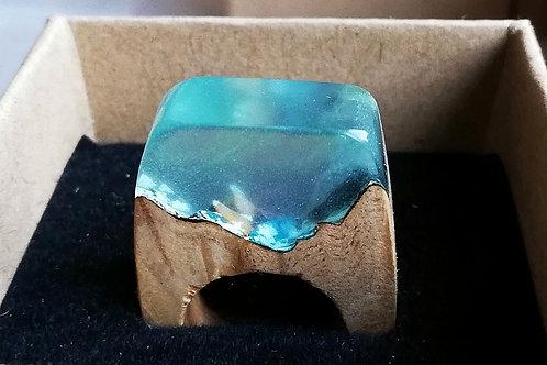 Pale Blue Resin & Walnut Burr Ring - size K-S