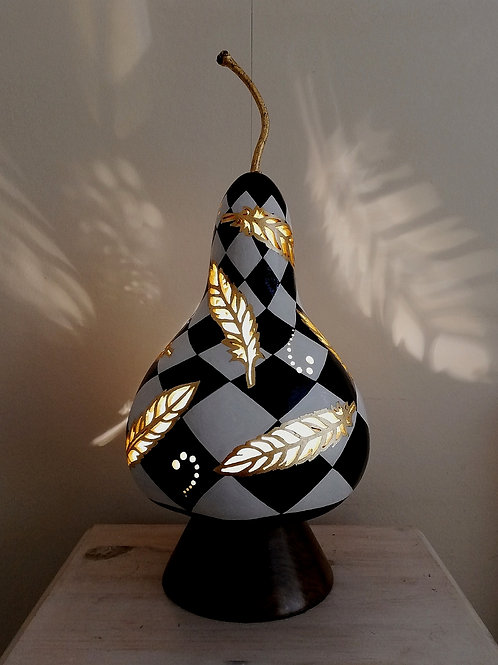 Elegant Gold Feather Gourd Lamp